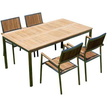 Gartengarnitur Edelstahl Teak Set: Tisch 160x90 cm + 4 Teak Sessel Serie KUBA