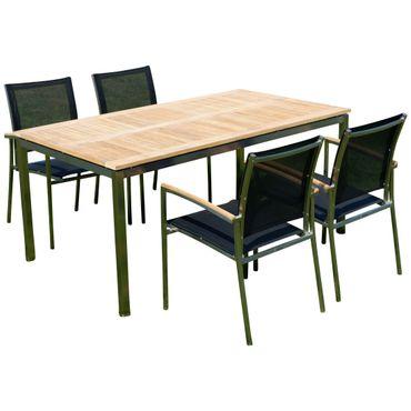 Gartengarnitur Edelstahl Teak Set: Tisch 160x90 cm + 4 Sessel Serie KUBA-SCHWARZ