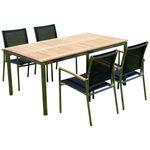 Gartengarnitur Edelstahl Teak Set: Tisch 160x90 cm + 4 Sessel Serie KUBA-SCHWARZ - Bild 1