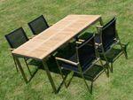 Gartengarnitur Edelstahl Teak Set: Tisch 160x90 cm + 4 Sessel Serie KUBA-SCHWARZ - Bild 8