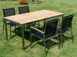 Gartengarnitur Edelstahl Teak Set: Tisch 160x90 cm + 4 Sessel Serie KUBA-SCHWARZ - Bild 4