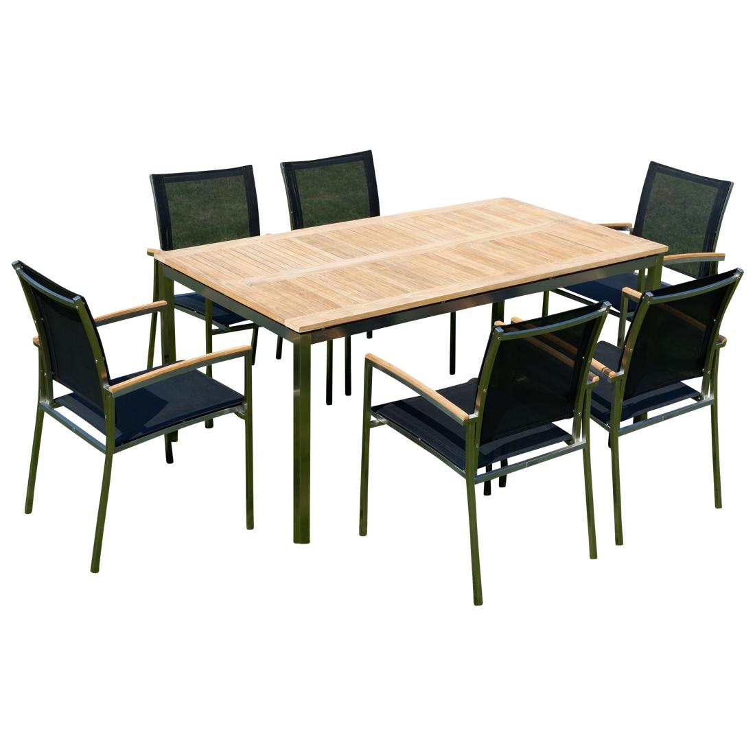 Gartengarnitur Edelstahl Teak Set: Tisch 160x90 cm + 6 Sessel Serie ...