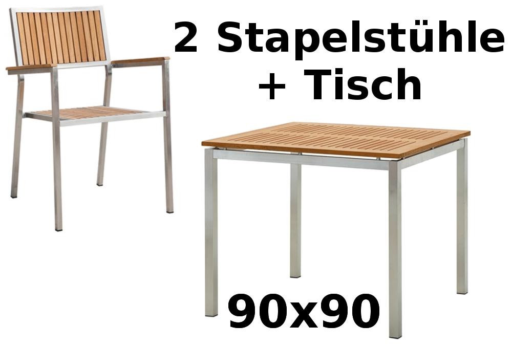 Gartengarnitur Edelstahl Teak Set: Tisch 90x90 cm + 2 Teak Sessel ...