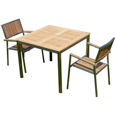Gartengarnitur Edelstahl Teak Set: Tisch 90x90 cm + 2 Teak Sessel Serie KUBA