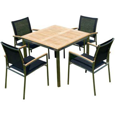 Gartengarnitur Edelstahl Teak Set: Tisch 90x90 cm + 4 Sessel Serie KUBA-SCHWARZ