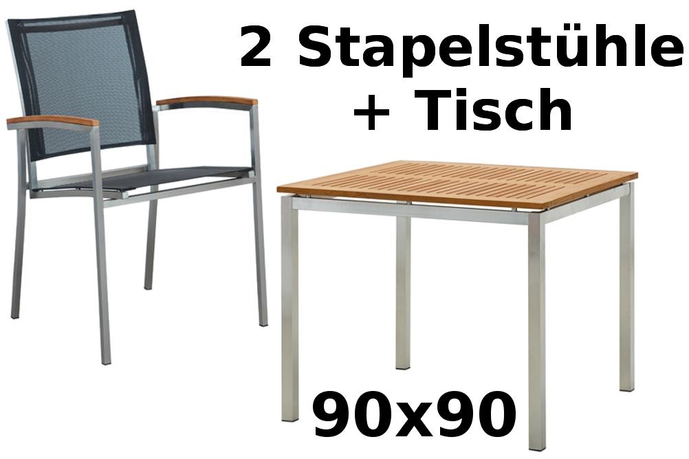 Gartengarnitur edelstahl teak set tisch 90x90 cm 2 for Tisch 90x90