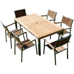 Gartengarnitur Edelstahl Teak Set: Ausziehtisch 160/220 x 90 cm + 6 Teak Sessel A-Grade Teak Holz Serie KUBA - Bild 1