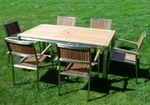 Gartengarnitur Edelstahl Teak Set: Ausziehtisch 160/220 x 90 cm + 6 Teak Sessel A-Grade Teak Holz Serie KUBA - Bild 6