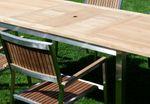 Gartengarnitur Edelstahl Teak Set: Ausziehtisch 160/220 x 90 cm + 6 Teak Sessel A-Grade Teak Holz Serie KUBA - Bild 3