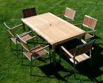 Gartengarnitur Edelstahl Teak Set: Ausziehtisch 160/220 x 90 cm + 6 Teak Sessel A-Grade Teak Holz Serie KUBA - Bild 5