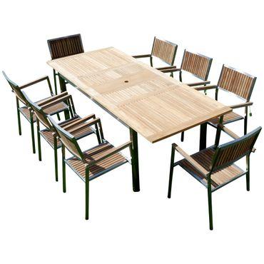 Gartengarnitur Edelstahl Teak Set: Ausziehtisch 160/220 x 90 cm + 8 Teak Sessel Serie KUBA