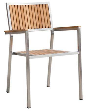 4Stk Designer Gartenstuhl mit Armlehne Gartensessel Stapelstuhl KUBA-TEAK Edelstahl Teak A-Grade stapelbar sehr robust  – Bild 2