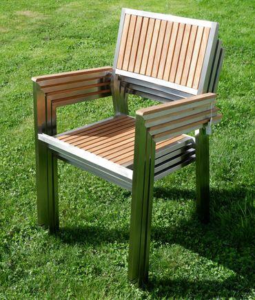 6Stk Designer Gartenstuhl mit Armlehne KUBA-TEAK Gartensessel Stapelstuhl Stapelsessel Sessel Edelstahl Teak A-Grade stapelbar sehr robust – Bild 3