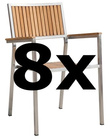 8Stk Designer Gartenstuhl mit Armlehne KUBA-TEAK Gartensessel Stapelstuhl Stapelsessel Sessel Edelstahl Teak A-Grade stapelbar sehr robust