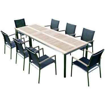 Gartengarnitur Edelstahl Teak Set: Tisch 160x90 cm + Tisch 90x90 + 8 Sessel Serie KUBA-SCHWARZ