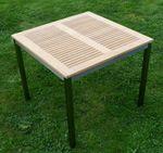Gartengarnitur Edelstahl Teak Set: Tisch 160x90 cm + Tisch 90x90 + 8 Sessel Serie KUBA-SCHWARZ - Bild 8