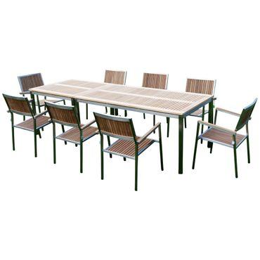 Gartengarnitur Edelstahl Teak Set: Tisch 160x90 cm + Tisch 90x90cm + 8 Teak Sessel Serie KUBA