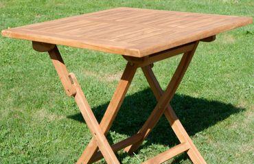 ECHT TEAK Klapptisch Holztisch Gartentisch Garten Tisch 80x80 cm JAV-AVES Holz – Bild 2