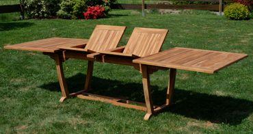Details zu ECHT TEAK XXL Ausziehtisch Holztisch Gartentisch 300x100cm 2fach ausziehbar Holz