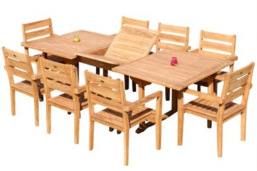 TEAK SET: Gartengarnitur Tobago Ausziehtisch 180-240cm x 100cm + 8 Kingston Stapelsessel JAV
