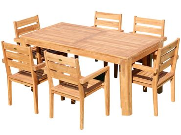TEAK SET: Gartengarnitur Bigfoot Tisch 180x90 + 6 Kingston Sessel Serie JAV