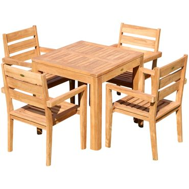 TEAK SET: Gartengarnitur Bigfoot Tisch 80x80 + 4 Kingston Sessel Serie JAV