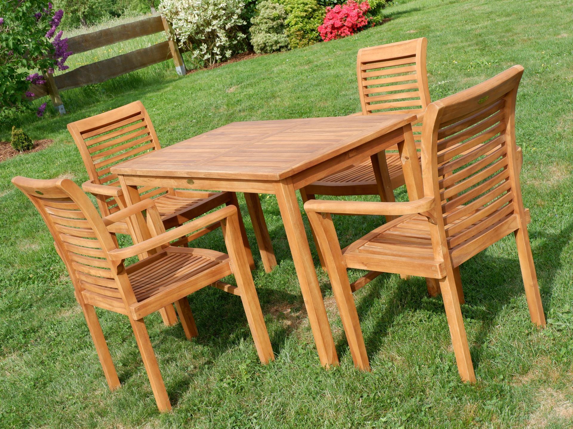 Teak Set Gartengarnitur Gartentisch 120x70 Cm 4 Sessel Holz Jav Alpen