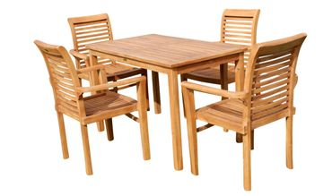 ECHT TEAK Set Gartengarnitur Gartenset Gartentisch 120x70cm + 4x Sessel ALPEN
