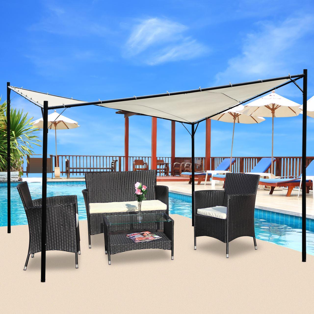 eleganter gartenpavillon schmetterling butterfly pavillon sonnensegel 4x4 meter 16m dach 100. Black Bedroom Furniture Sets. Home Design Ideas