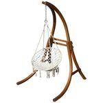Hängesessel mit Gestell aus Holz Lärche Modell: CAT-CRUZ komplett mit Stoffsessel - Bild 1