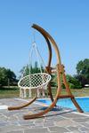 Hängesessel mit Gestell aus Holz Lärche Modell: CAT-CRUZ komplett mit Stoffsessel - Bild 4