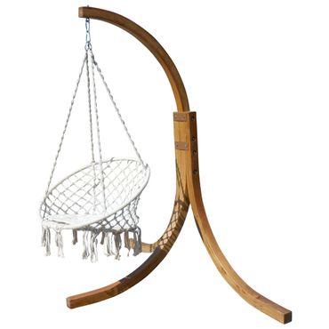 DESIGN Hängesessel NAV-CRUZ mit Gestell  aus Holz Lärche komplett mit Hängesessel – Bild 1