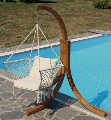 DESIGN Hängesessel NAV-KAILUA mit Gestell  aus Holz Lärche komplett mit Hängesessel – Bild 2