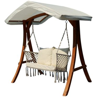Design Hollywood Schaukel mit Sitzbank Waikiki aus Holz Lärche mit Dach