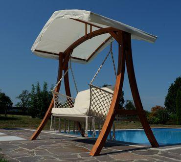 Design Hollywood Schaukel mit Sitzbank Waikiki aus Holz Lärche mit Dach – Bild 4
