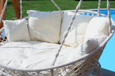 Hängesessel Hängelounger Doppellounger Lounge für 2 Personen MAUI mit vielen Kissen klappbar inkl. Hollywoodschaukel - Gestell ARUBA mit Dach  – Bild 11