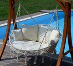 Hängesessel Hängelounger Doppellounger Lounge für 2 Personen MAUI mit vielen Kissen klappbar inkl. Hollywoodschaukel - Gestell ARUBA mit Dach  - Bild 7