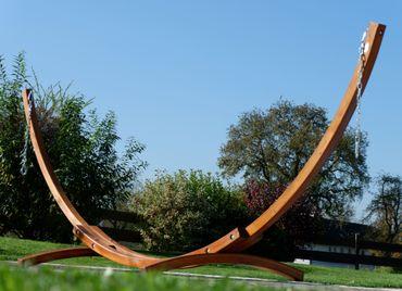 350cm Hängemattengestell aus Holz Lärche ohne Hängematte (nur Gestell) komplett mit Schrauben – Bild 2