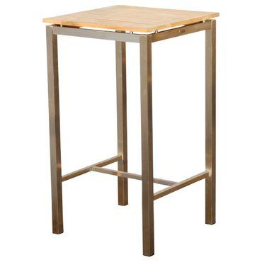 Edelstahl Teak Bartisch 60x60 cm Holztisch Stehtisch Tisch massive Ausführung A-Grade Teakholz MEXIKO