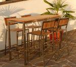 BAR-SET - EDELSTAHL TEAK Bartisch Bistrotisch 160x60cm mit 4x Barhocker Modell: MEXIKO - Bild 2