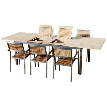 Gartengarnitur Edelstahl Teak Set: Tisch 200-280x100 cm + 6 Teak Sessel Serie KUBA