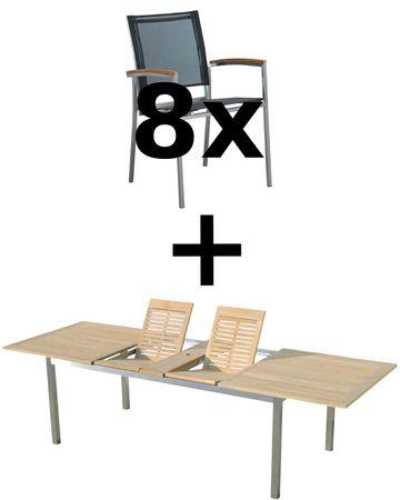 Gartengarnitur Edelstahl Batyline Teak Set: Ausziehtisch 200/240/280 x 100 cm + 8 Sessel A-Grade Teak Holz Serie KUBA-SCHWARZ