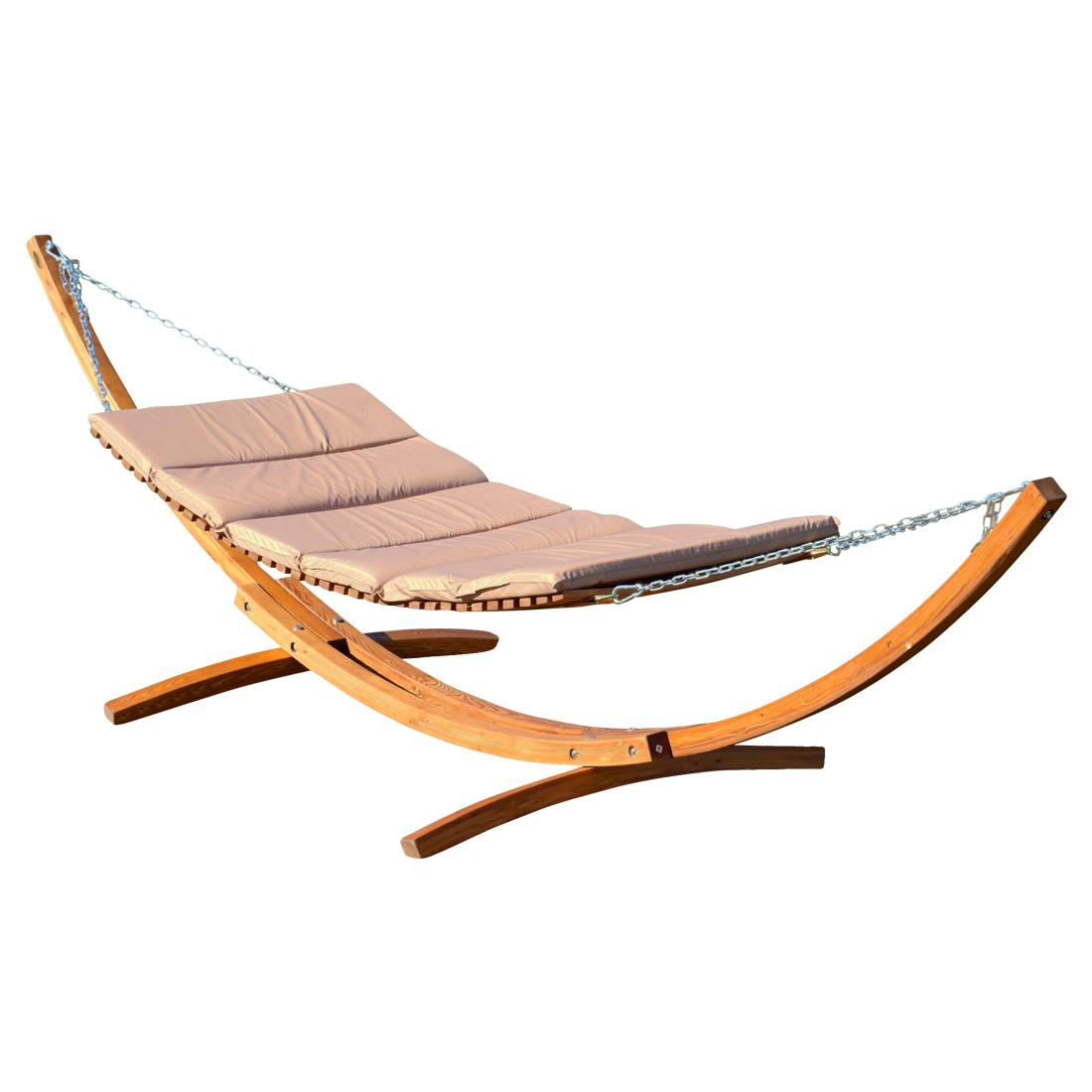Doppel - Sonnenliege TULUM-BRAUN/BRONZE extrabreit für 2 Personen mit verstellbarem Dach aus Holz Lärche