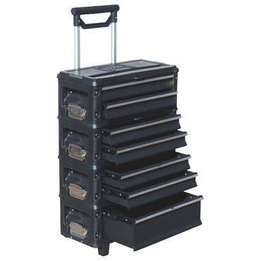 Metall Werkzeugtrolley XXL Type: B5-B BLACK EDITION schwarz mit Schubladenverriegelung und Schloss