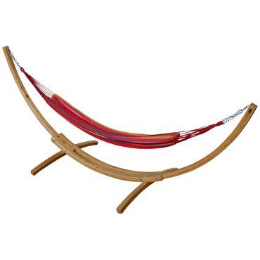 350cm Hängemattengestell NATUR-MONA aus Holz Lärche natur mit bunter Tuch Hängematte – Bild 8