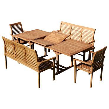 TEAK SET: Gartengarnitur SABA Ausziehtisch 150-210 cm x 90 cm + 2 Alpen Sessel + 2 Bänke 150cm JAV