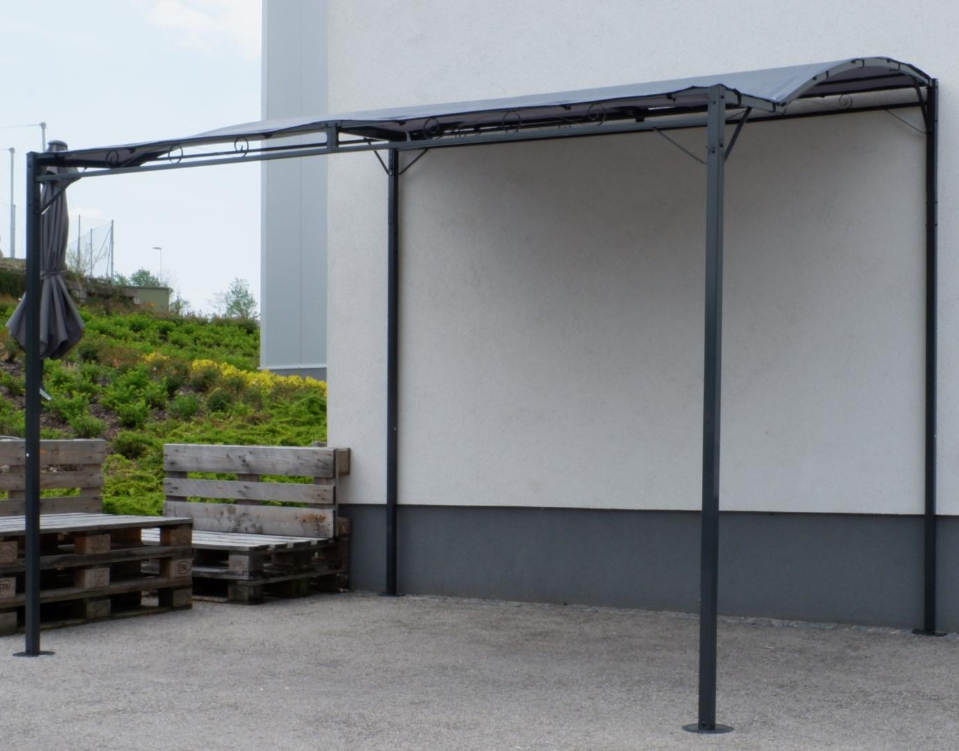 wand anbau pavillon 3 x 2 5 meter mit dach 100 wasserdicht uv30 model topea anthrazit alles