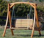 Design Hollywoodschaukel Gartenschaukel KUREDO-OD aus Holz Lärche - Bild 5