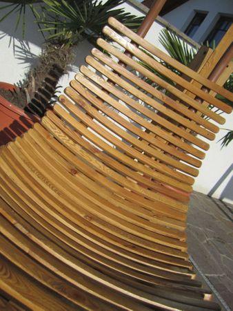B-Ware DESIGN Hängeliege NAVASSA-SEAT-GRÜN aus Holz Lärche / Metall mit Auflage (OHNE Gestell) – Bild 4