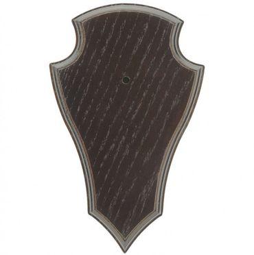 Rehbock Gehörnbrettchen Eiche 22x13cm spitz dunkel Trophäenschild – Bild 1